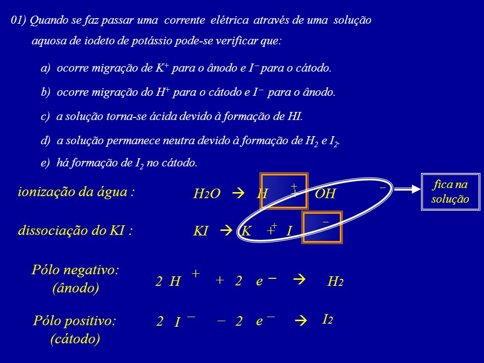 ionização da água : H2O  H + OH dissociação do KI : KI  K + I