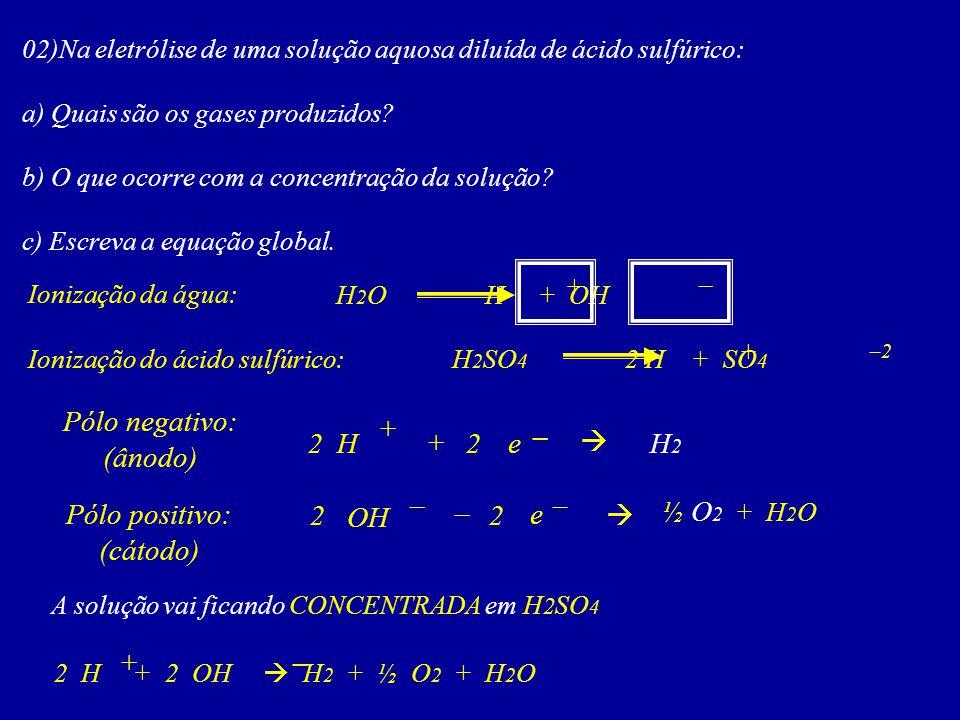 Pólo negativo: (ânodo) + – 2 H + 2 e  H2 – – Pólo positivo: (cátodo)