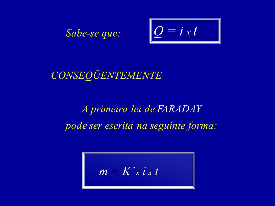 Q = i x t m = K' x i x t Sabe-se que: CONSEQÜENTEMENTE
