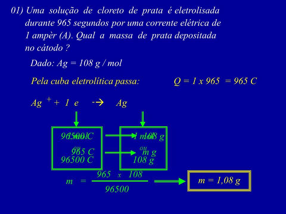 01) Uma solução de cloreto de prata é eletrolisada