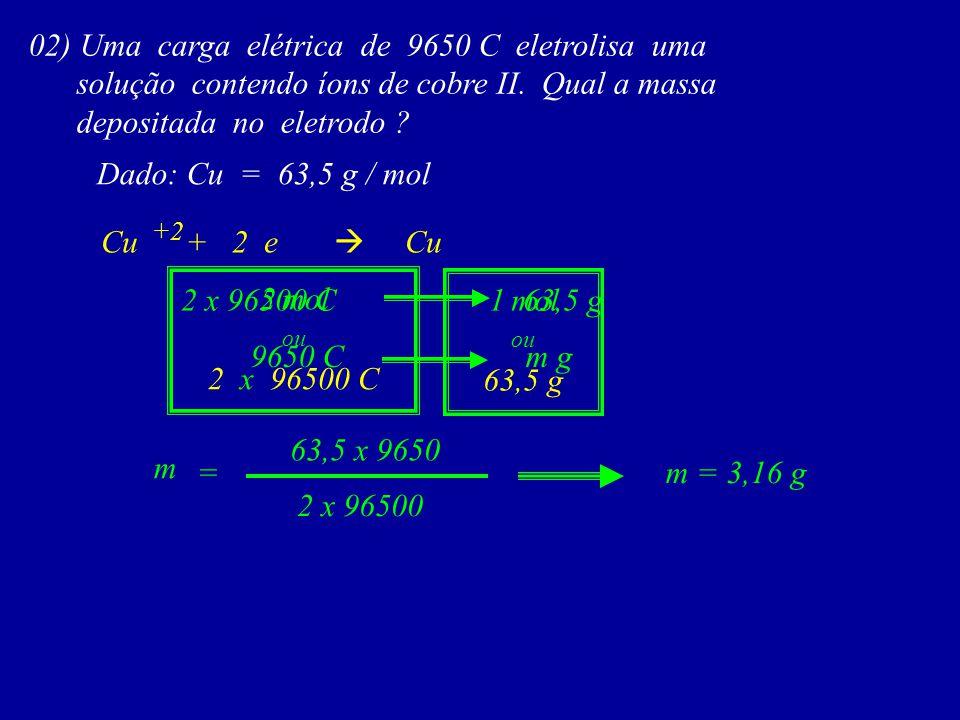 02) Uma carga elétrica de 9650 C eletrolisa uma