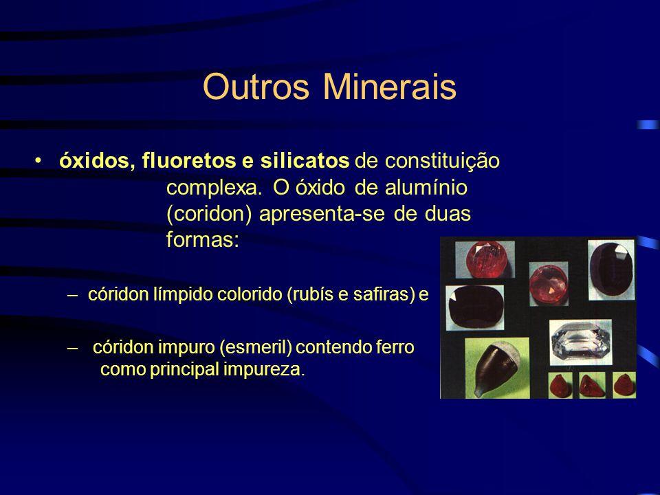 Outros Minerais óxidos, fluoretos e silicatos de constituição complexa. O óxido de alumínio (coridon) apresenta-se de duas formas: