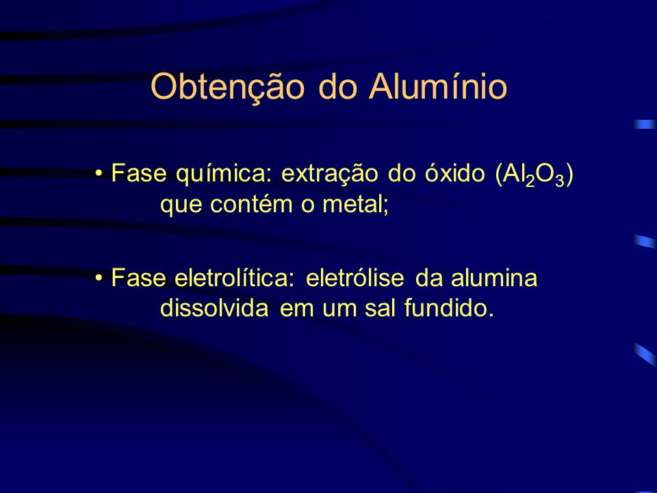 Obtenção do Alumínio Fase química: extração do óxido (Al2O3) que contém o metal;