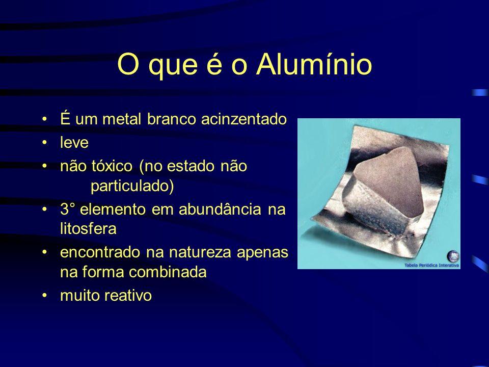 O que é o Alumínio É um metal branco acinzentado leve