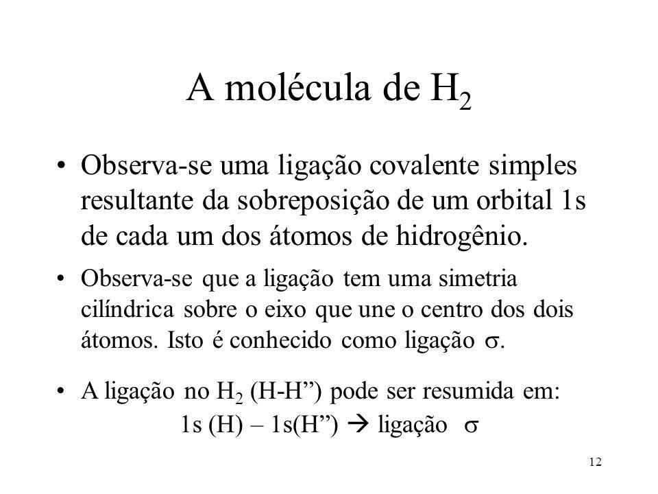 A molécula de H2 Observa-se uma ligação covalente simples resultante da sobreposição de um orbital 1s de cada um dos átomos de hidrogênio.