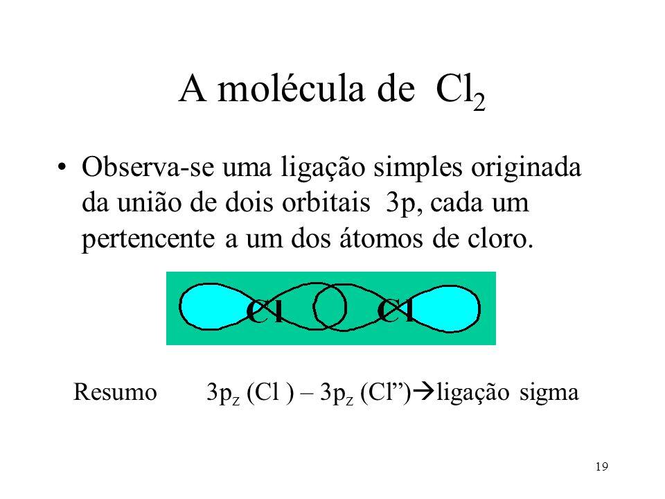 A molécula de Cl2 Observa-se uma ligação simples originada da união de dois orbitais 3p, cada um pertencente a um dos átomos de cloro.