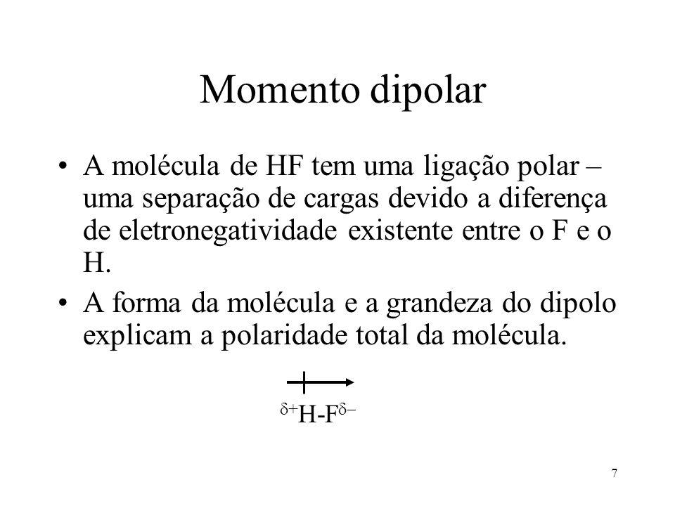 Momento dipolar A molécula de HF tem uma ligação polar – uma separação de cargas devido a diferença de eletronegatividade existente entre o F e o H.