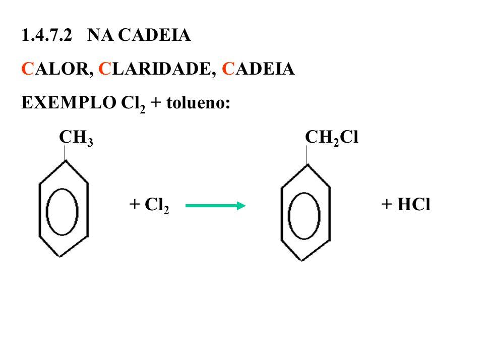 1.4.7.2 NA CADEIA CALOR, CLARIDADE, CADEIA. EXEMPLO Cl2 + tolueno: CH3 CH2Cl.