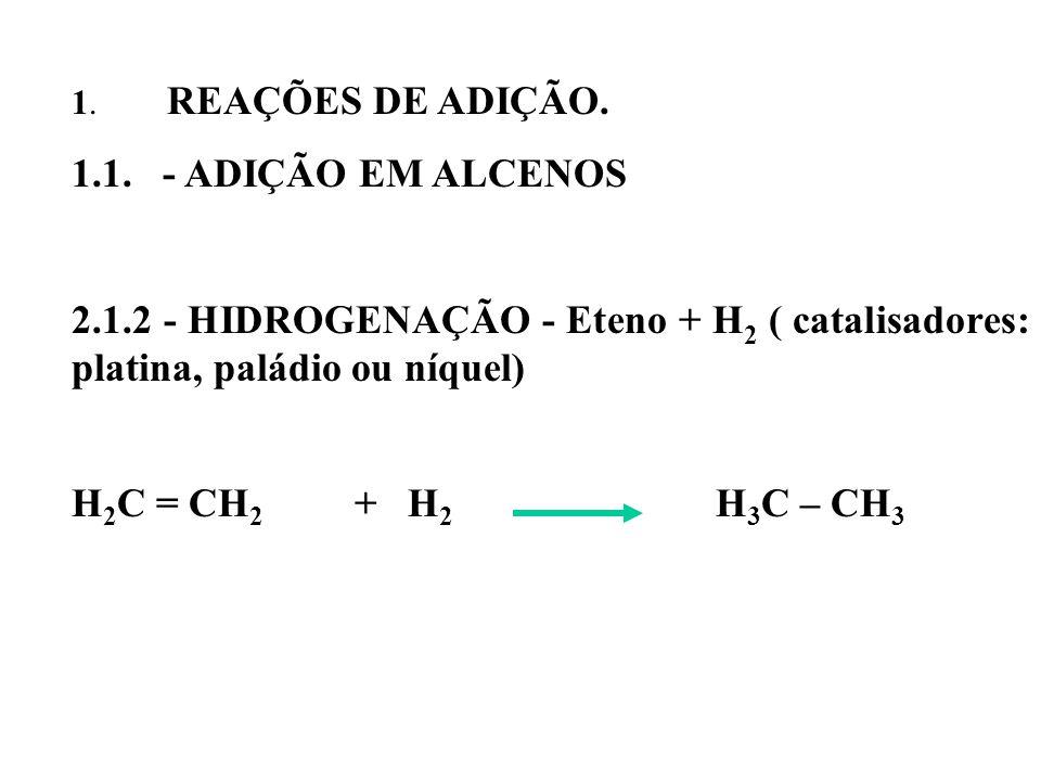 1. REAÇÕES DE ADIÇÃO. 1.1. - ADIÇÃO EM ALCENOS. 2.1.2 - HIDROGENAÇÃO - Eteno + H2 ( catalisadores: platina, paládio ou níquel)