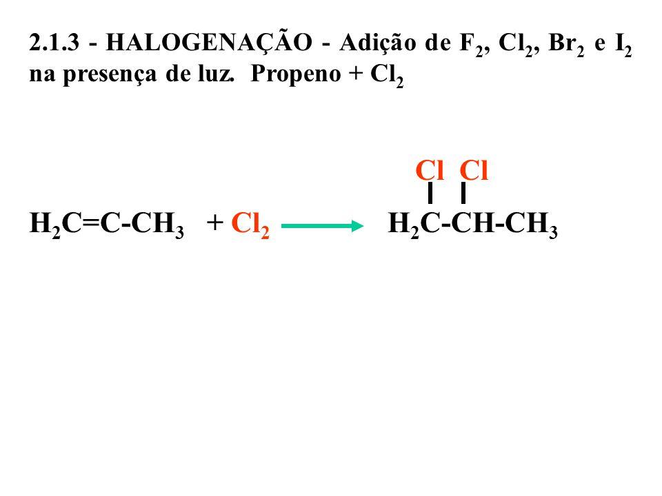 2. 1. 3 - HALOGENAÇÃO - Adição de F2, Cl2, Br2 e I2 na presença de luz