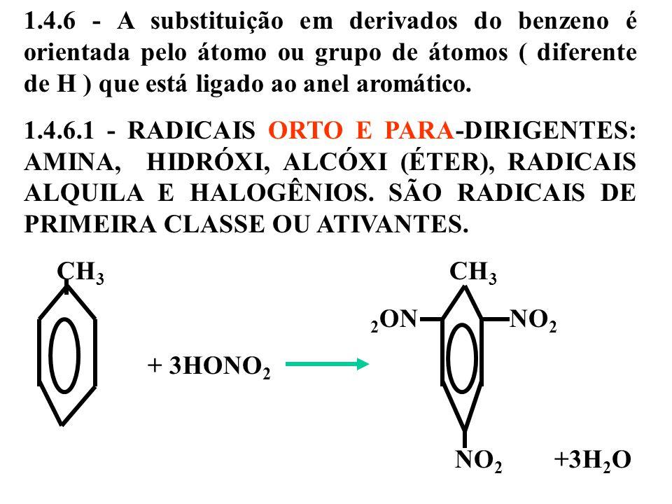1.4.6 - A substituição em derivados do benzeno é orientada pelo átomo ou grupo de átomos ( diferente de H ) que está ligado ao anel aromático.
