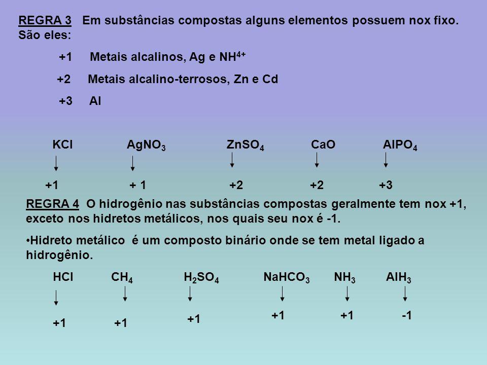 REGRA 3 Em substâncias compostas alguns elementos possuem nox fixo