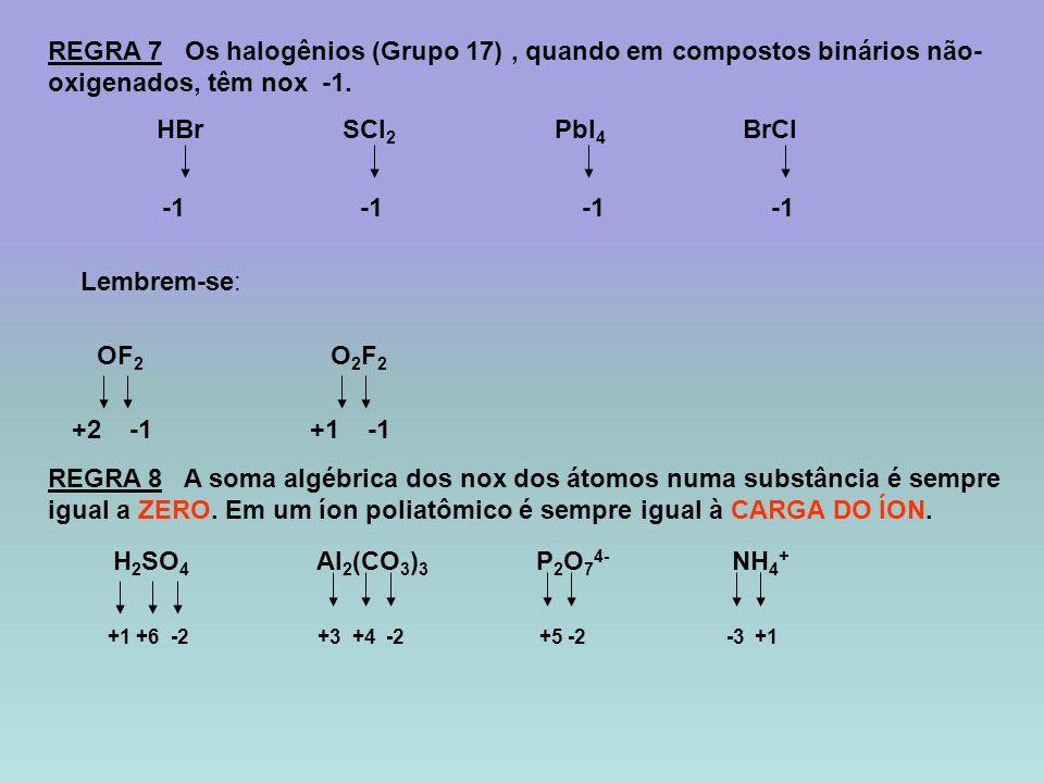 REGRA 7 Os halogênios (Grupo 17) , quando em compostos binários não-oxigenados, têm nox -1.