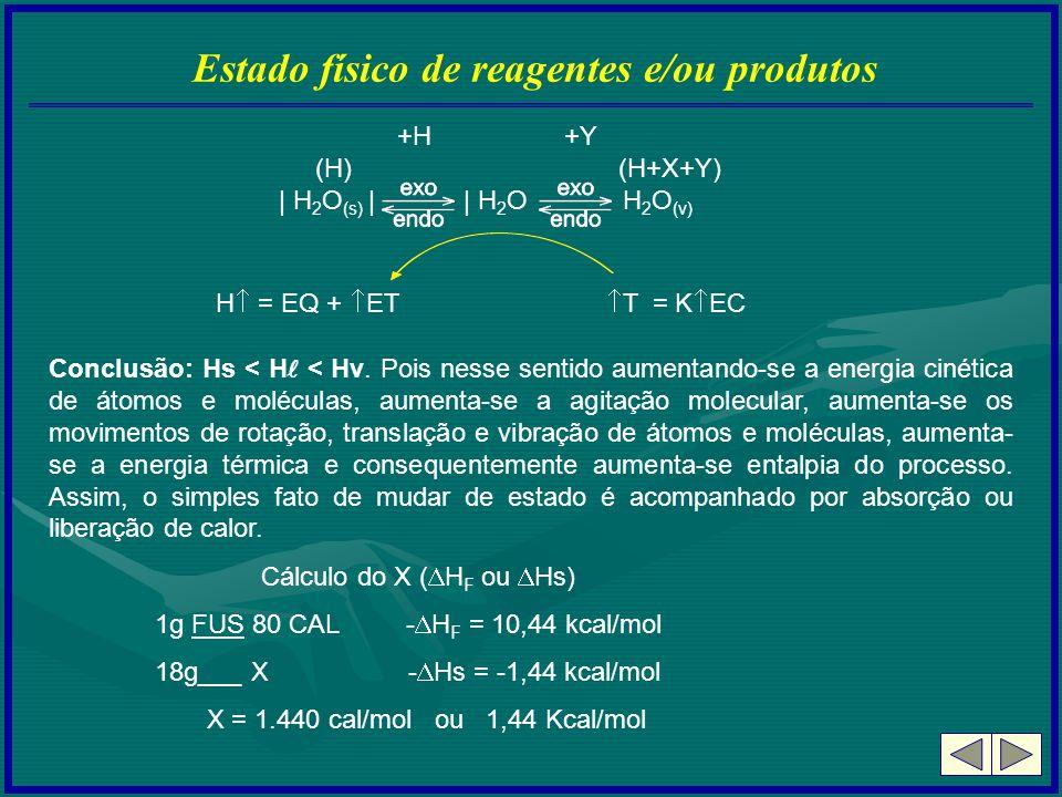 Estado físico de reagentes e/ou produtos