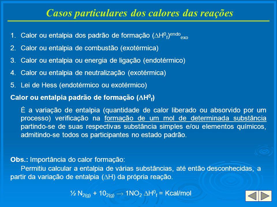 Casos particulares dos calores das reações