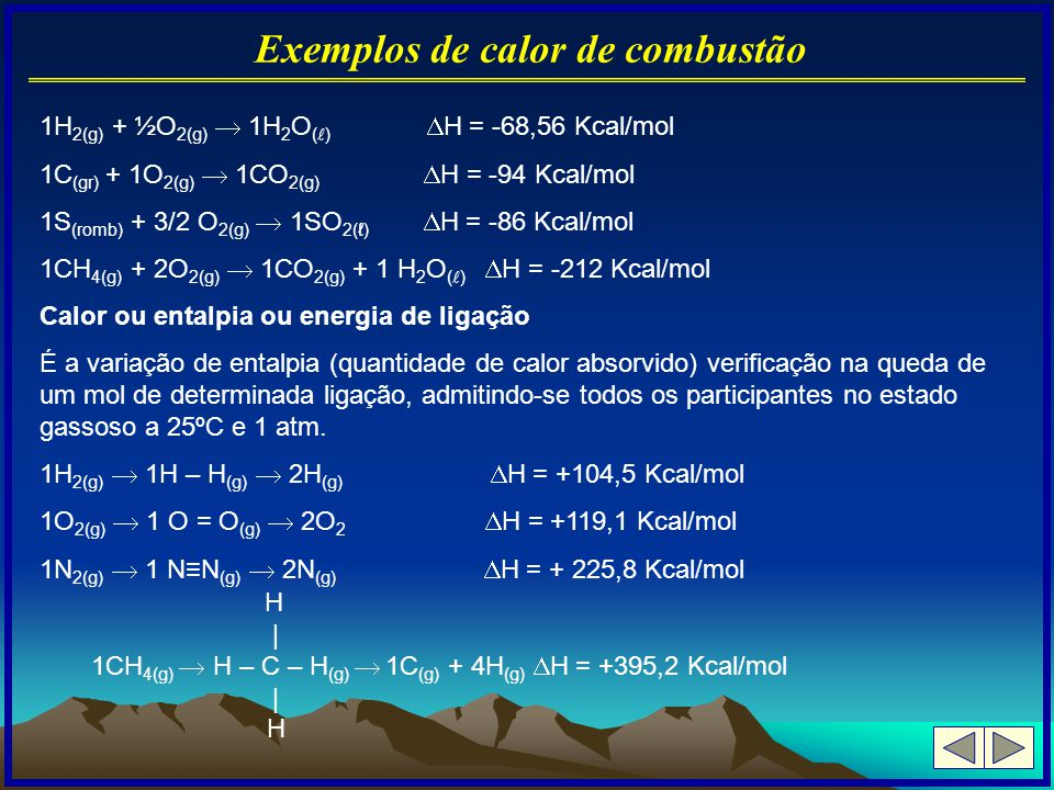 Exemplos de calor de combustão