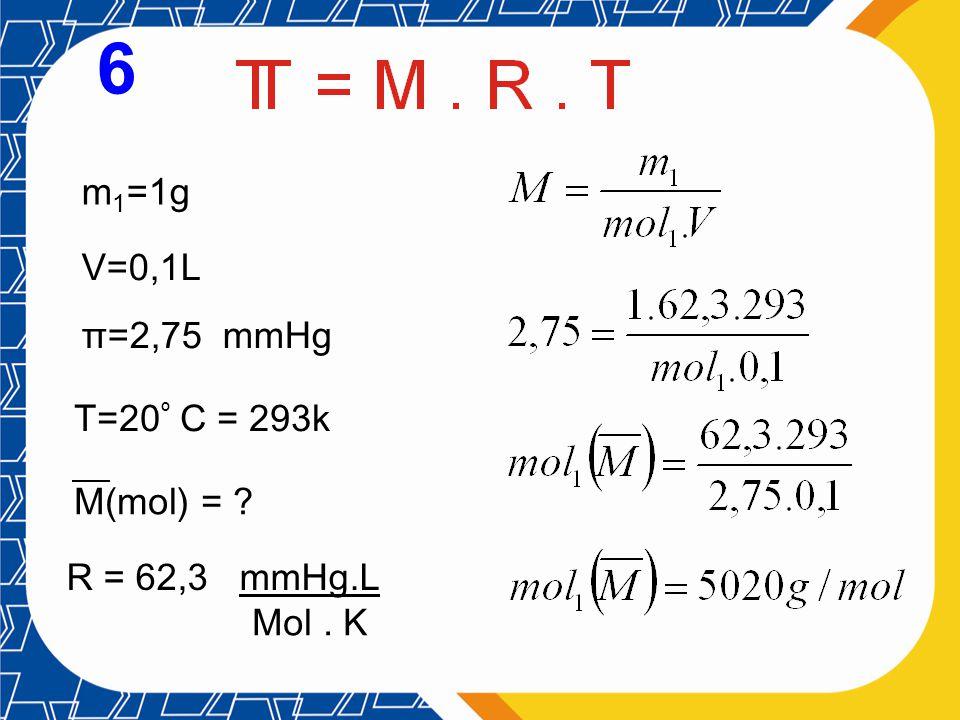6 m1=1g V=0,1L π=2,75 mmHg T=20º C = 293k M(mol) = R = 62,3 mmHg.L