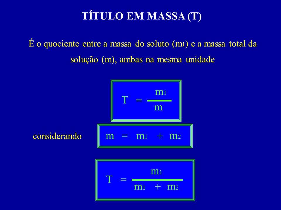 TÍTULO EM MASSA (T) m1 T = m m = m1 + m2 m1 T = m1 + m2