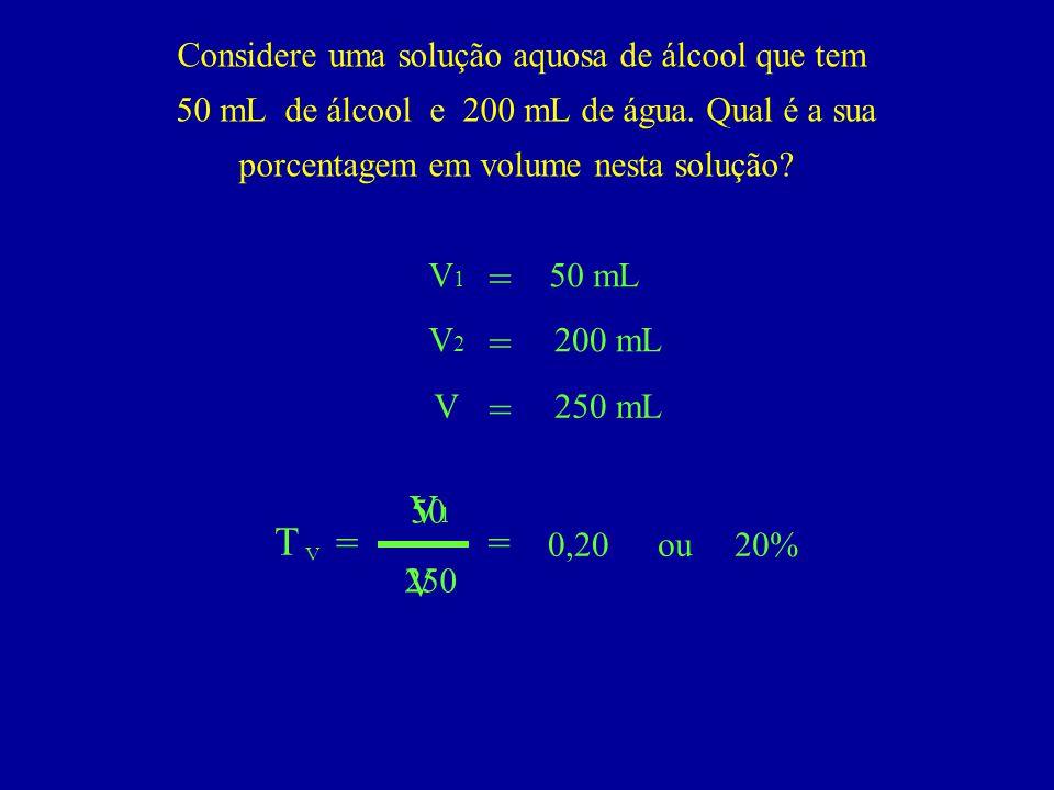 = = = V1 T = = V Considere uma solução aquosa de álcool que tem