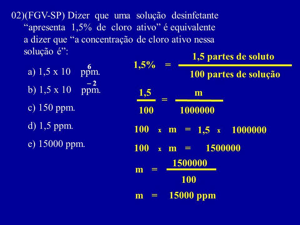 02)(FGV-SP) Dizer que uma solução desinfetante