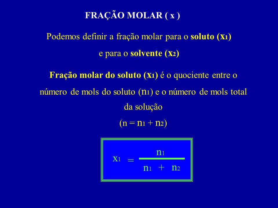 Podemos definir a fração molar para o soluto (x1)