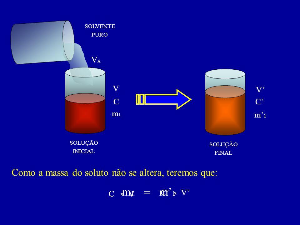 m1 = m'1 Como a massa do soluto não se altera, teremos que: VA V V' C
