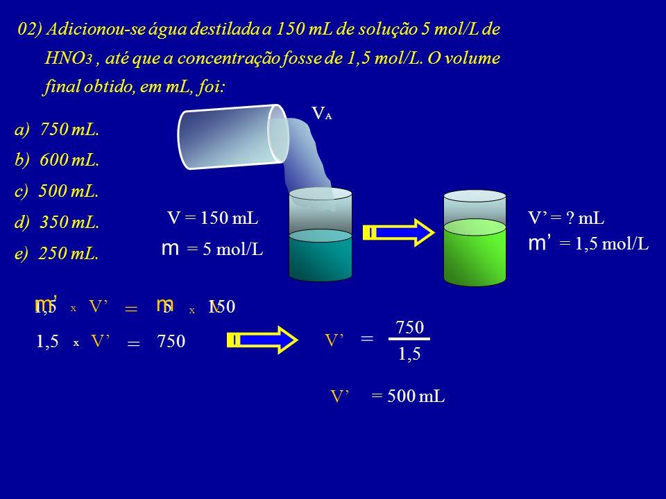 m' = 1,5 mol/L m = 5 mol/L m' m = = =