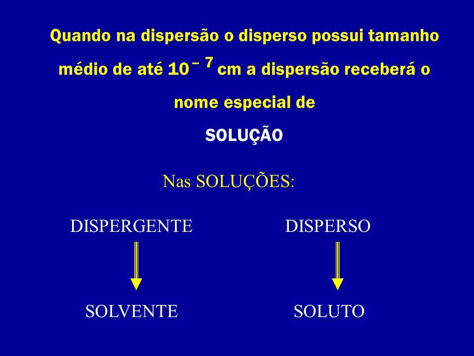 Quando na dispersão o disperso possui tamanho médio de até 10 cm a dispersão receberá o nome especial de