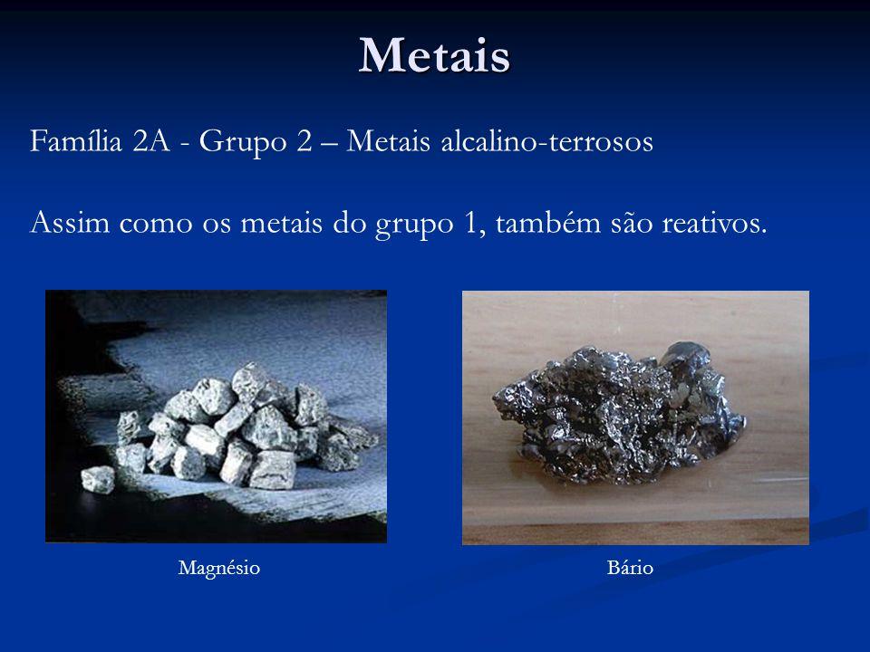 Metais Família 2A - Grupo 2 – Metais alcalino-terrosos