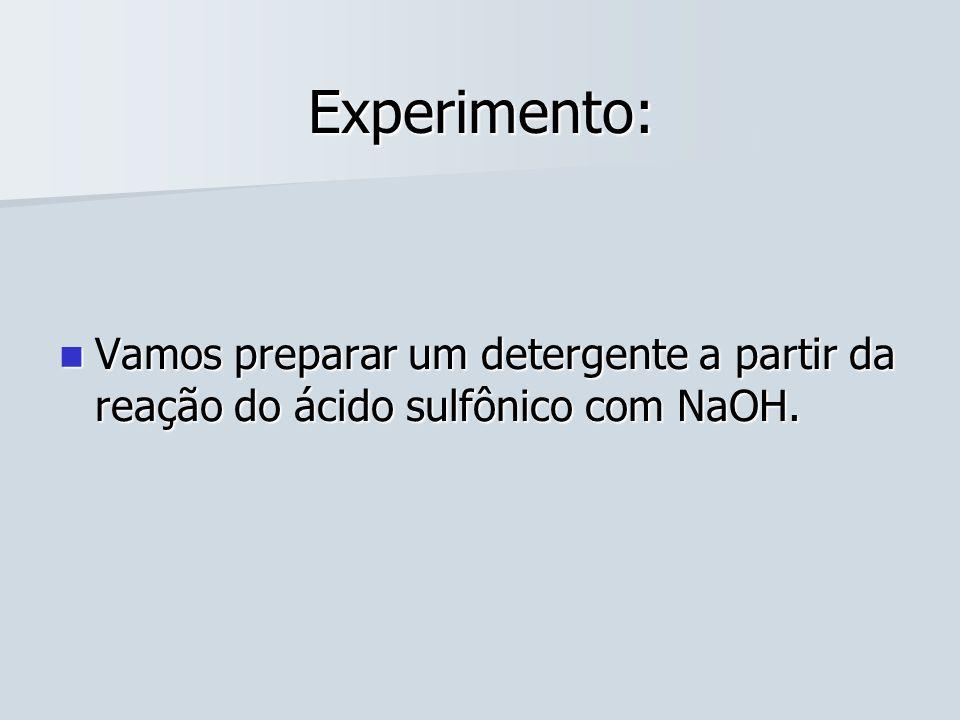 Experimento: Vamos preparar um detergente a partir da reação do ácido sulfônico com NaOH.