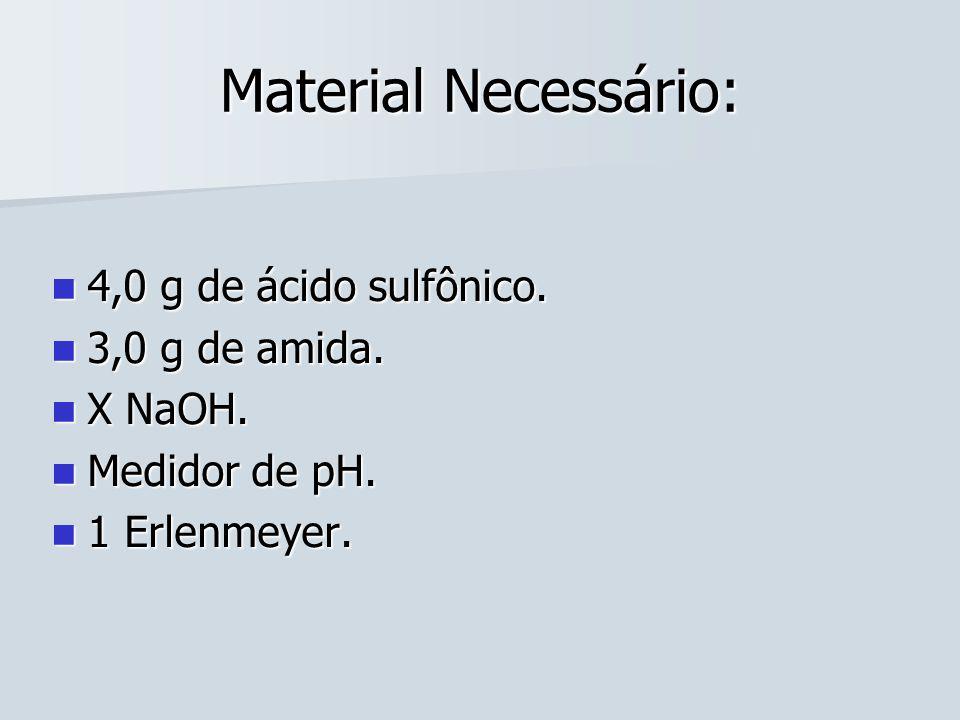 Material Necessário: 4,0 g de ácido sulfônico. 3,0 g de amida. X NaOH.