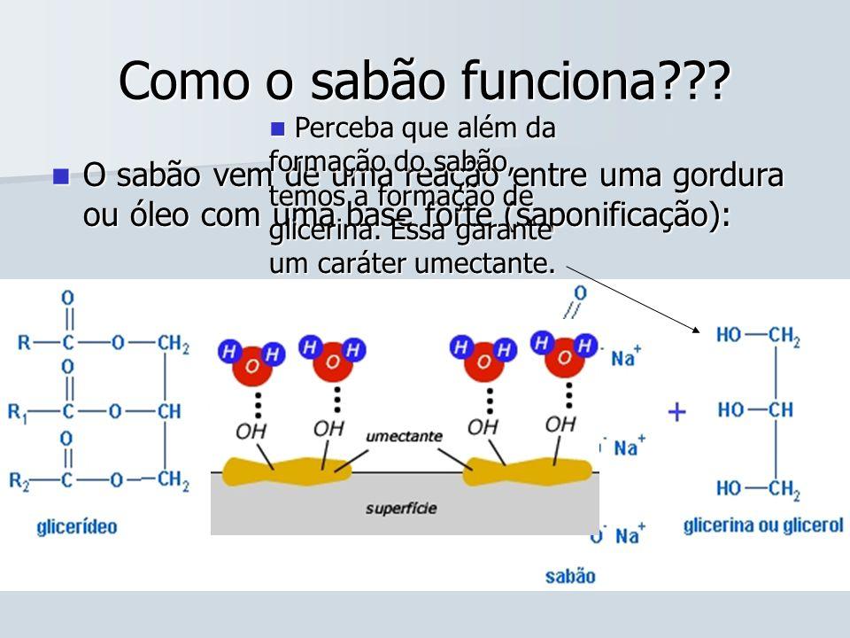Como o sabão funciona Perceba que além da formação do sabão, temos a formação de glicerina. Essa garante um caráter umectante.