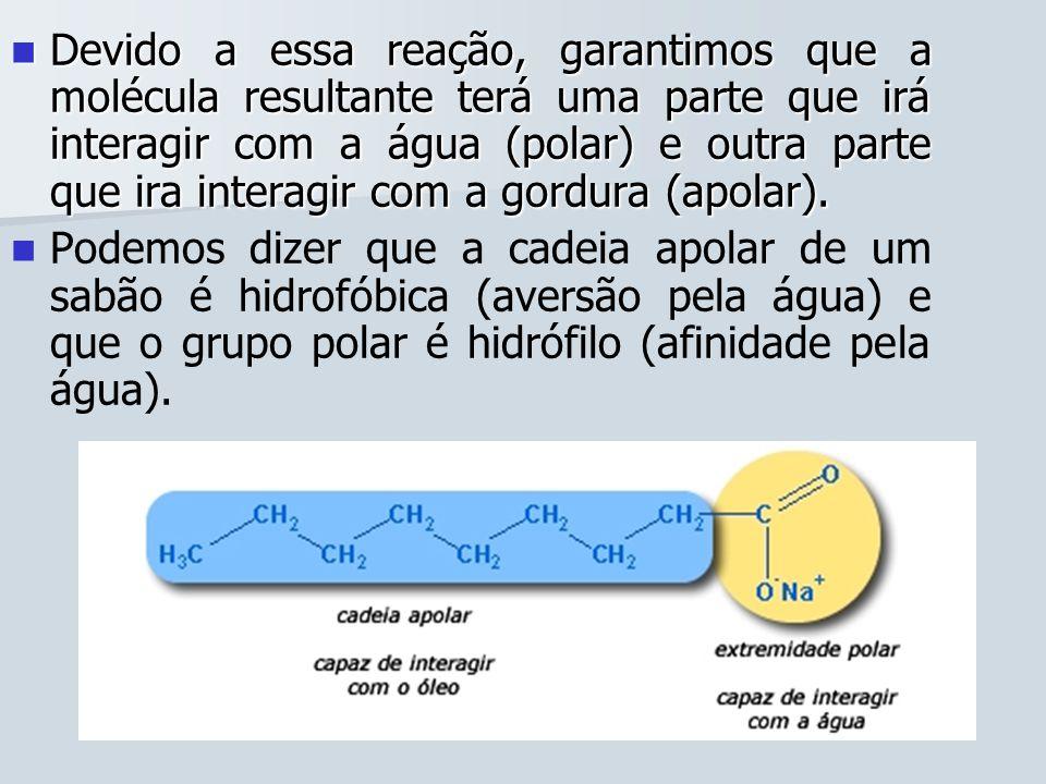 Devido a essa reação, garantimos que a molécula resultante terá uma parte que irá interagir com a água (polar) e outra parte que ira interagir com a gordura (apolar).