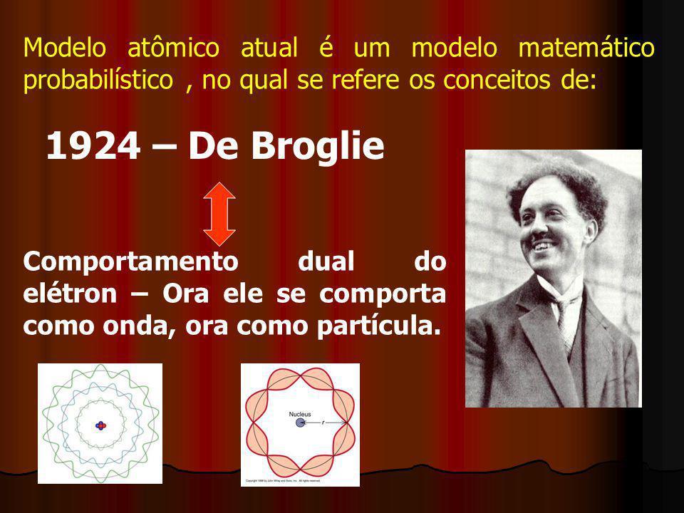 Modelo atômico atual é um modelo matemático probabilístico , no qual se refere os conceitos de: