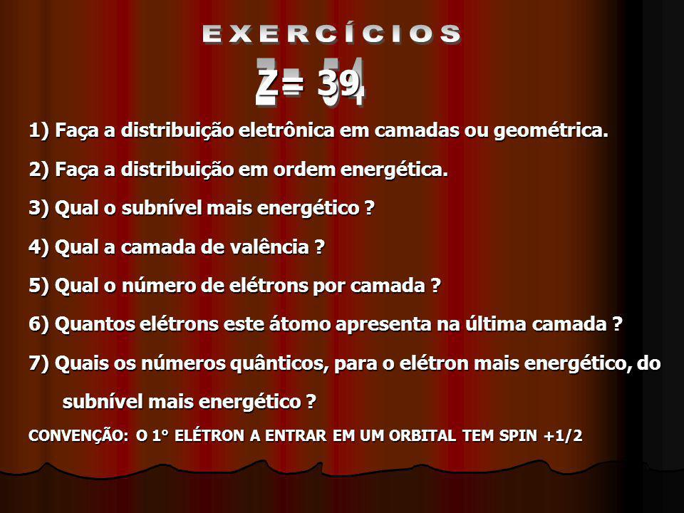 EXERCÍCIOS 1) Faça a distribuição eletrônica em camadas ou geométrica. 2) Faça a distribuição em ordem energética.