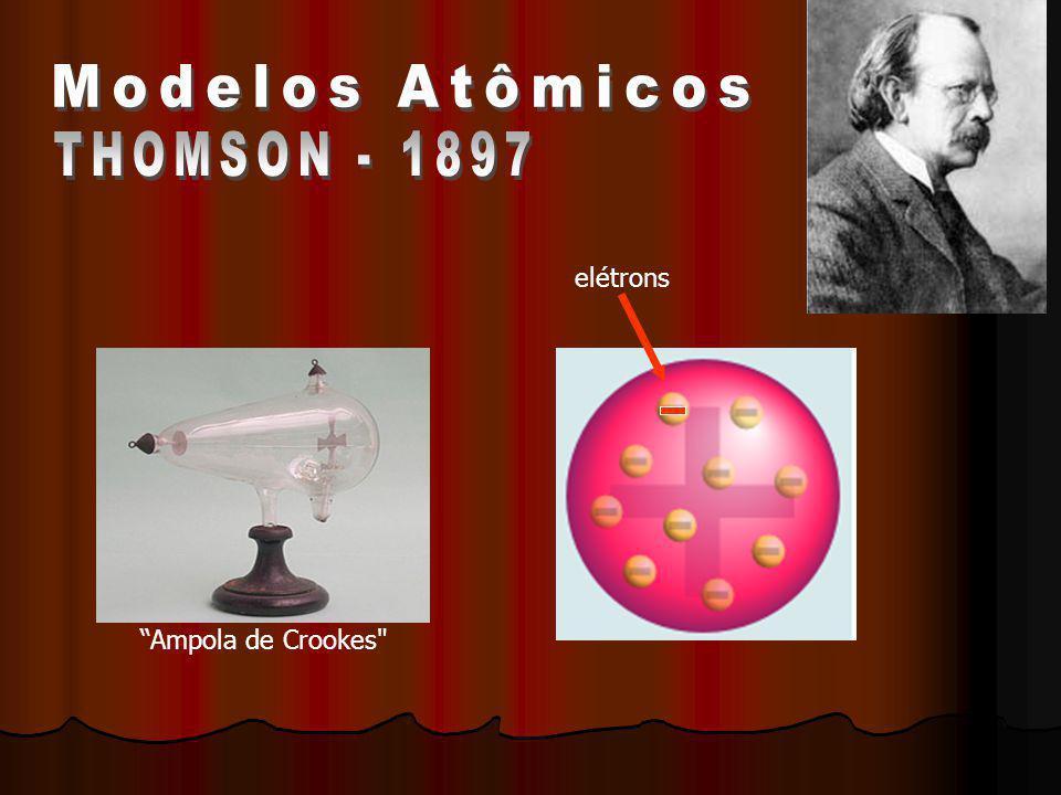 Modelos Atômicos THOMSON - 1897 elétrons Ampola de Crookes