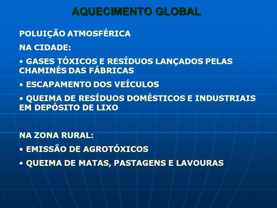 AQUECIMENTO GLOBAL POLUIÇÃO ATMOSFÉRICA NA CIDADE: