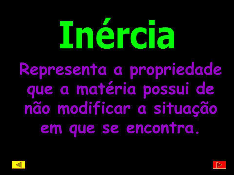 Inércia Representa a propriedade que a matéria possui de não modificar a situação em que se encontra.