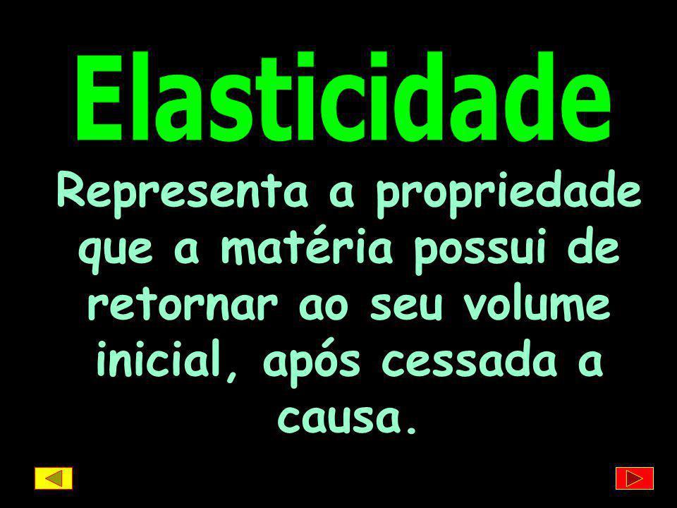Elasticidade Representa a propriedade que a matéria possui de retornar ao seu volume inicial, após cessada a causa.