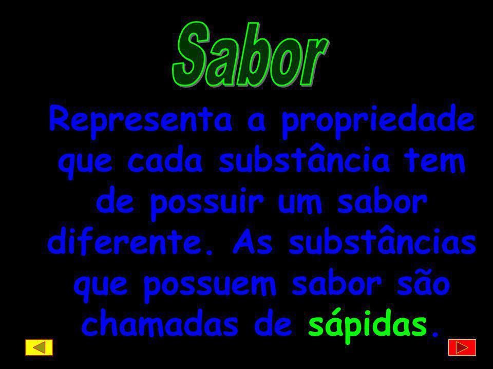 Sabor Representa a propriedade que cada substância tem de possuir um sabor diferente.