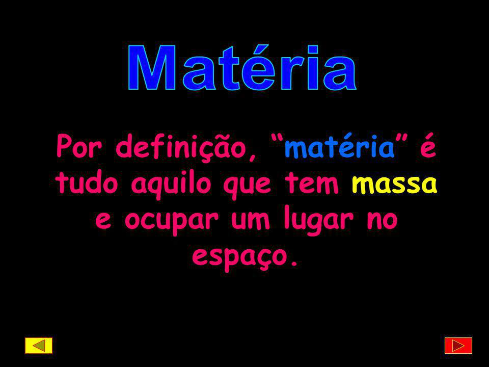 Matéria Por definição, matéria é tudo aquilo que tem massa e ocupar um lugar no espaço.