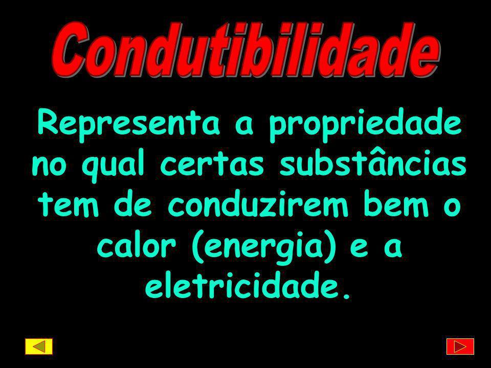 Condutibilidade Representa a propriedade no qual certas substâncias tem de conduzirem bem o calor (energia) e a eletricidade.