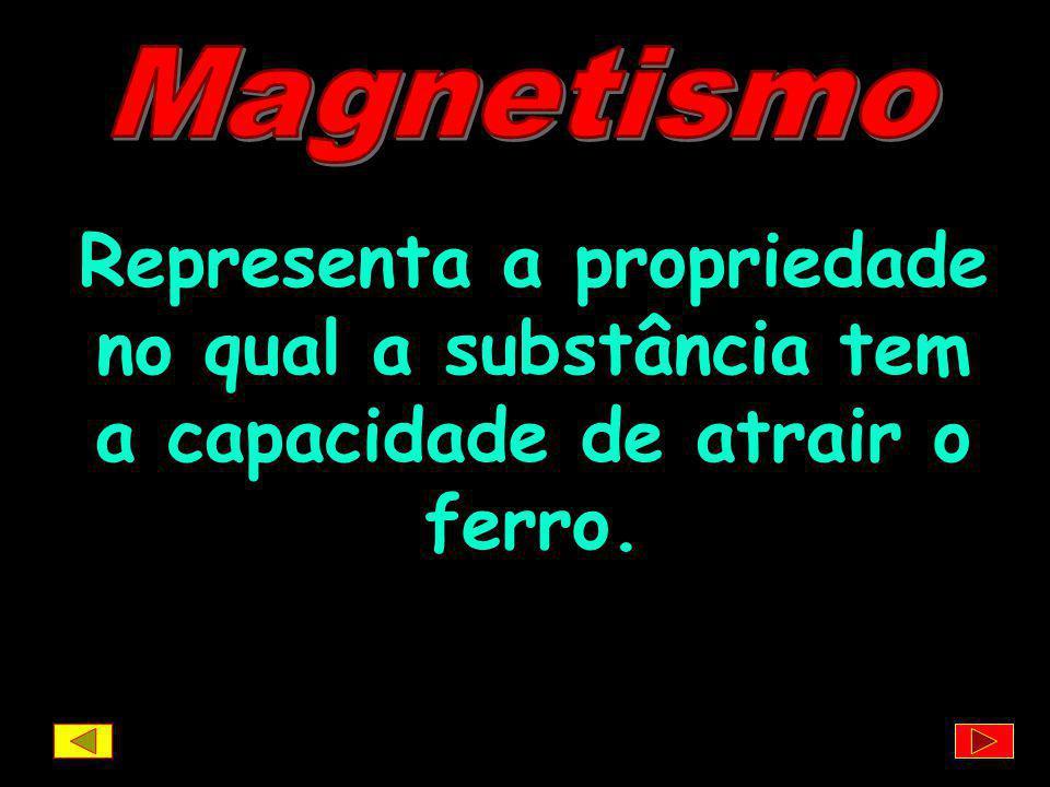 Magnetismo Representa a propriedade no qual a substância tem a capacidade de atrair o ferro.