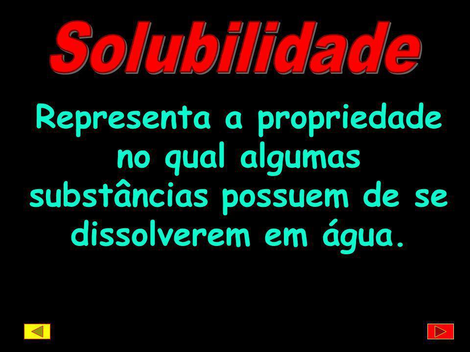 Solubilidade Representa a propriedade no qual algumas substâncias possuem de se dissolverem em água.