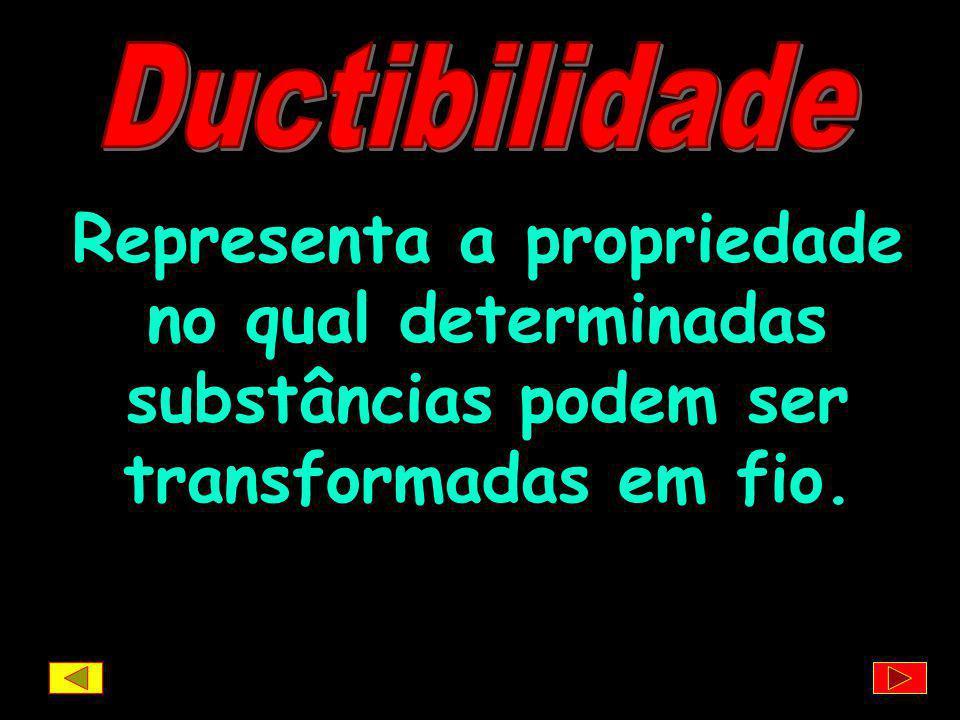 Ductibilidade Representa a propriedade no qual determinadas substâncias podem ser transformadas em fio.