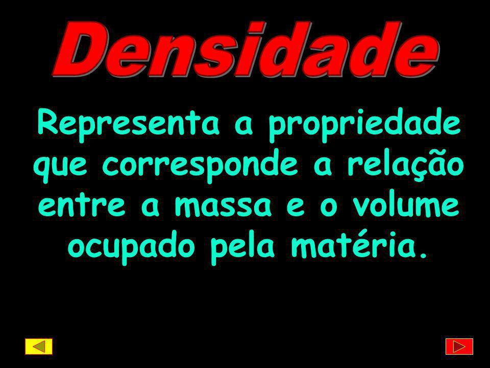 Densidade Representa a propriedade que corresponde a relação entre a massa e o volume ocupado pela matéria.