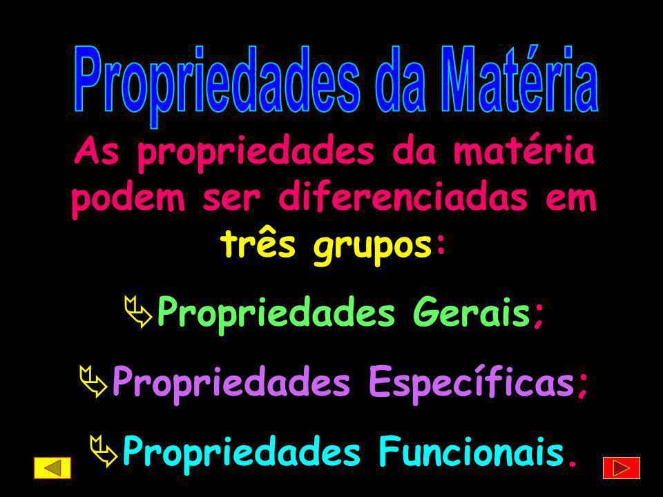 As propriedades da matéria podem ser diferenciadas em três grupos:
