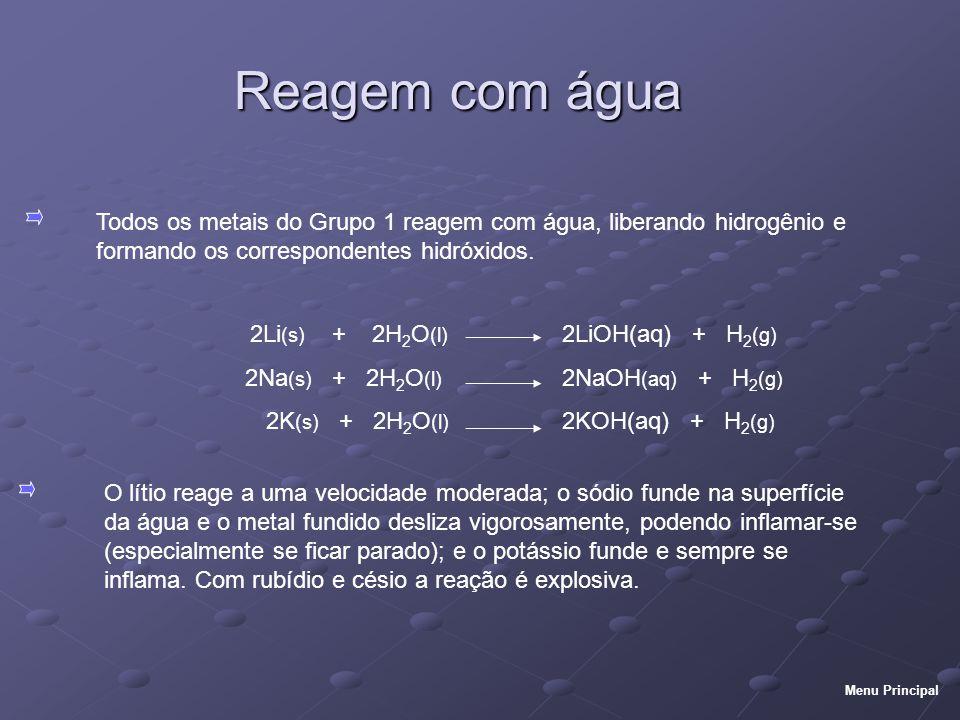 Reagem com água Todos os metais do Grupo 1 reagem com água, liberando hidrogênio e formando os correspondentes hidróxidos.