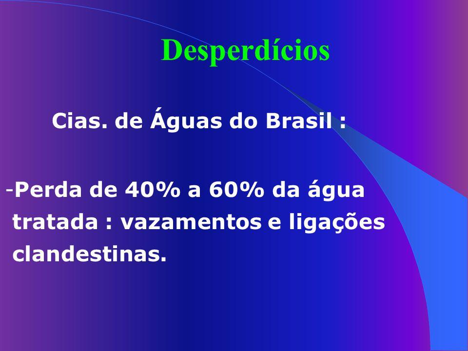 Desperdícios Cias. de Águas do Brasil : Perda de 40% a 60% da água