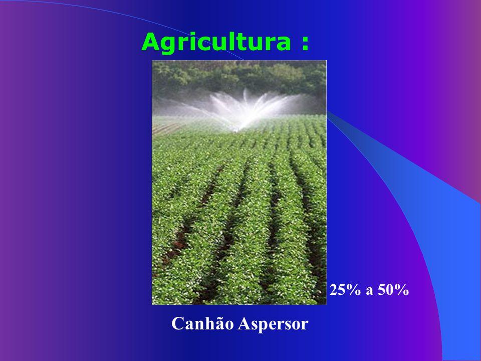 Agricultura : 25% a 50% Canhão Aspersor